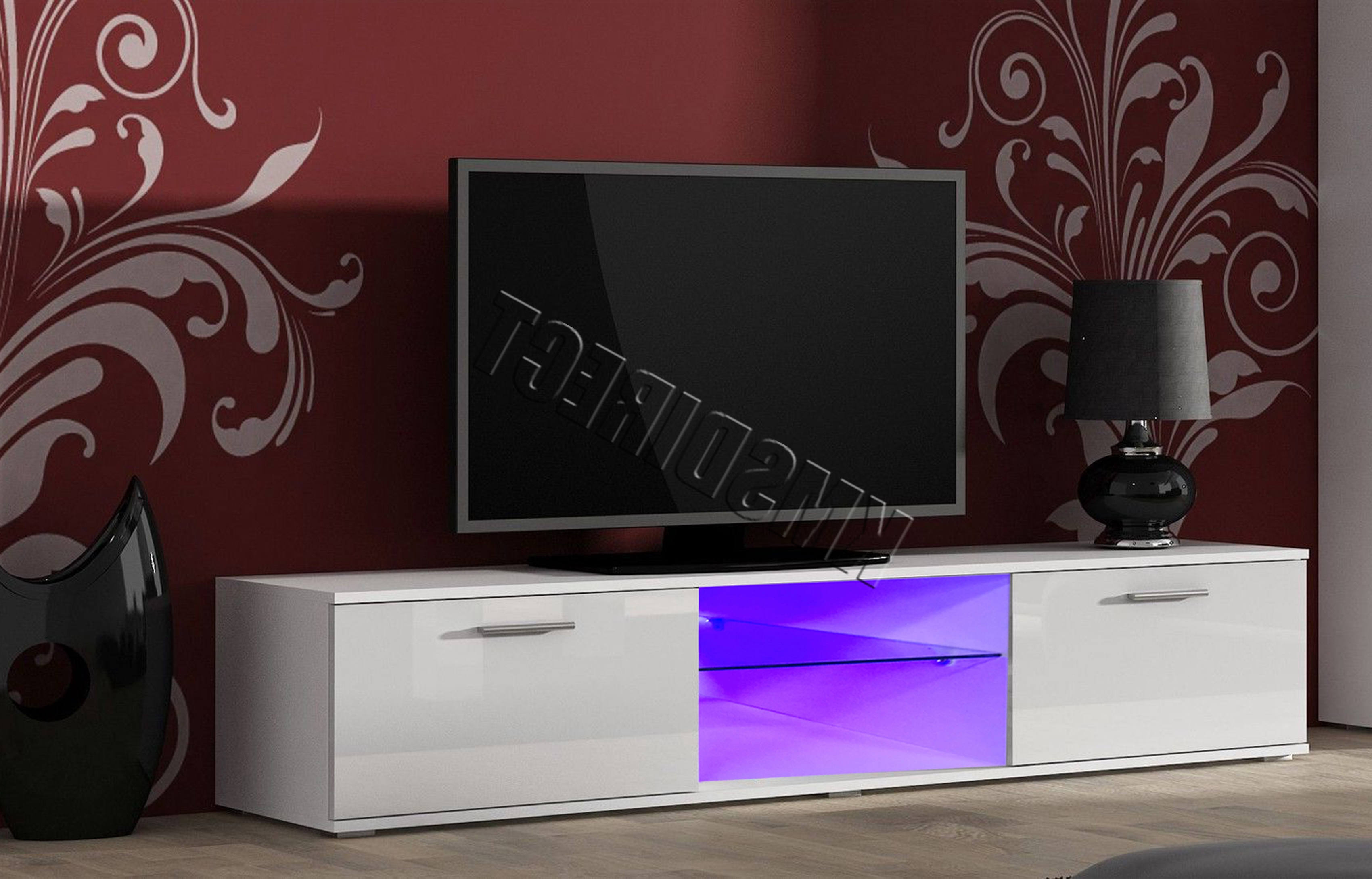 Widely Used Westwood Modern Led Tv Unit Stand Cabinet – High Gloss Doors Matte Inside White Gloss Tv Cabinets (View 13 of 20)