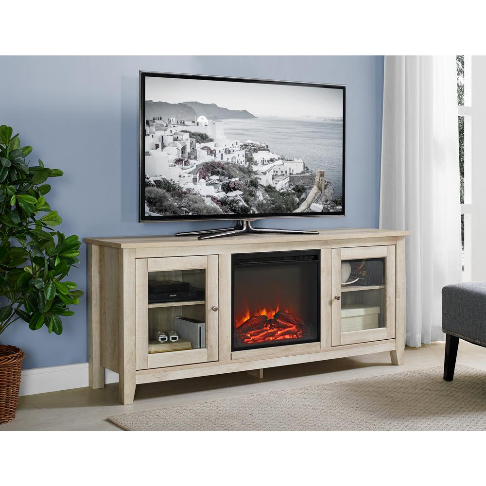 Widely Used White Wood Tv Stands Throughout Walker Edison Furniture Company 58 In (View 19 of 20)