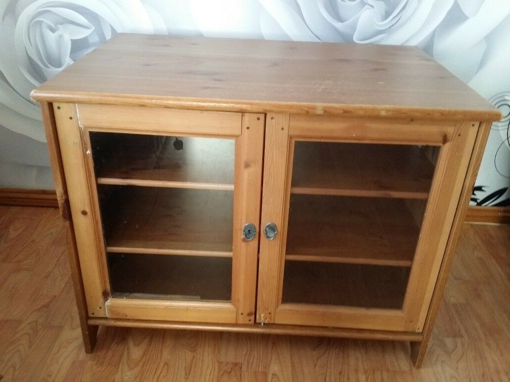 Widely Used Wooden Tv Cabinets With Glass Doors Pertaining To Ikea Wooden Tv Stand Unit Cupboard Cabinet Display With Shelves And (View 5 of 20)