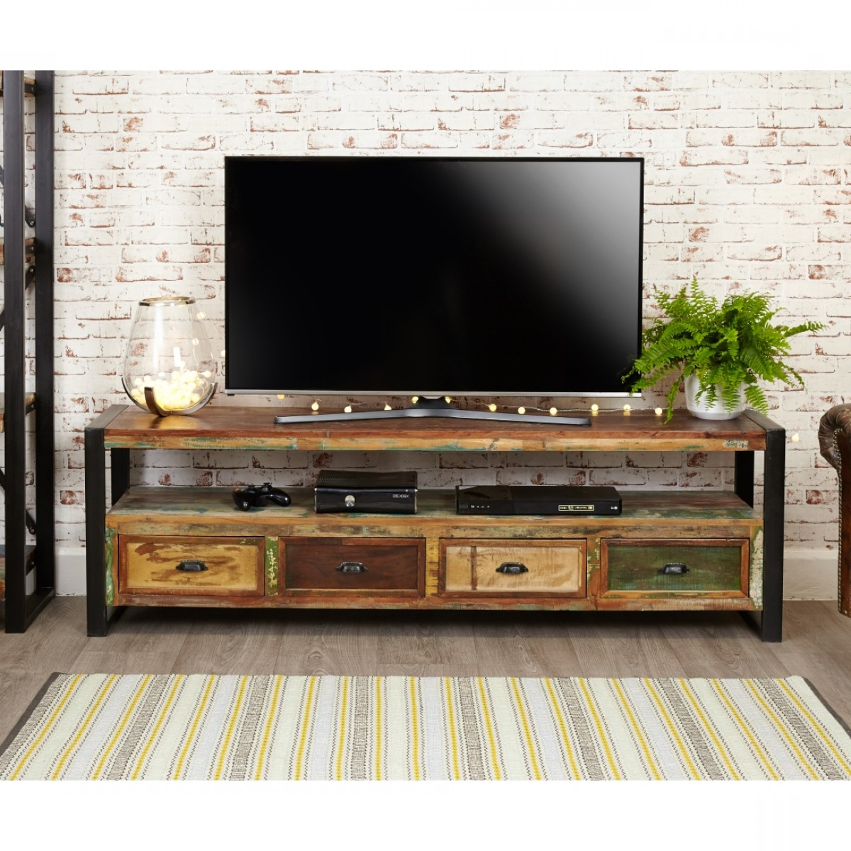 Widescreen Tv Cabinets Regarding 2018 Baumhaus Urban Chic Open Widescreen Tv Cabinet Irf09C (View 18 of 20)