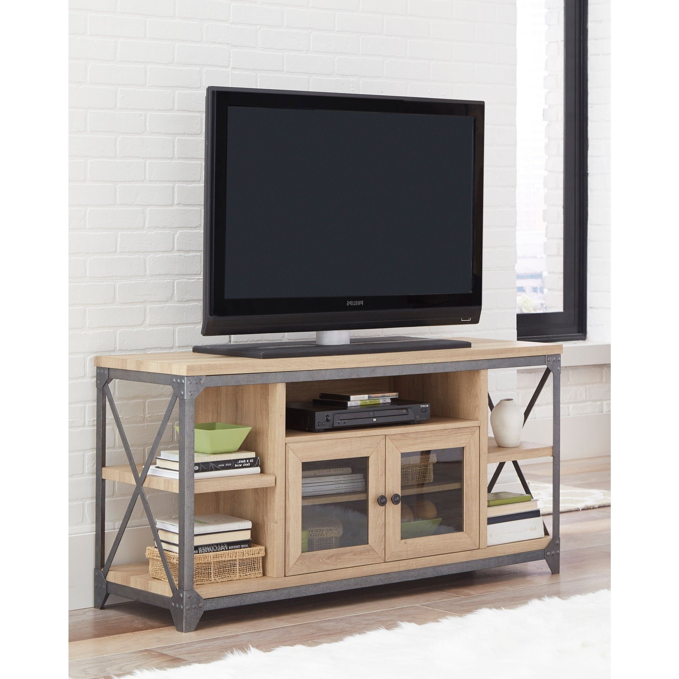 Wood And Metal Tv Stands Inside Most Popular Shop Wood And Metal Tv Stand With 5 Shelves, Oak Brown And Gray – On (View 14 of 20)
