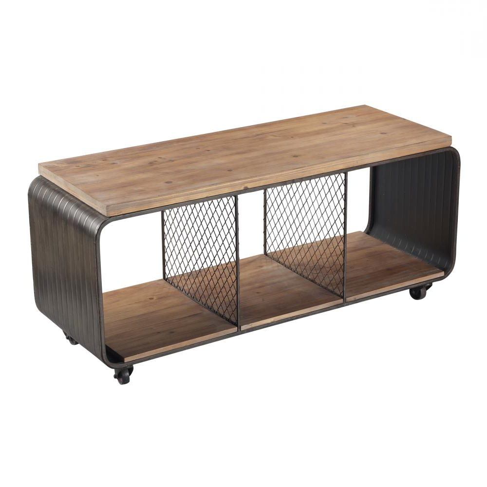 Wood And Metal Tv Stands Throughout Best And Newest Maltapan Wood Tone / Metal Tv Stand With Wire Accents Set On  (View 16 of 20)