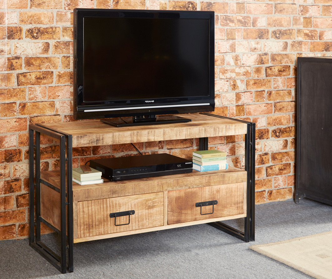 Wood And Metal Tv Stands With Most Up To Date Bonsoni Baudouin Industrial Tv Stand Made From Reclaimed Metal And (View 17 of 20)