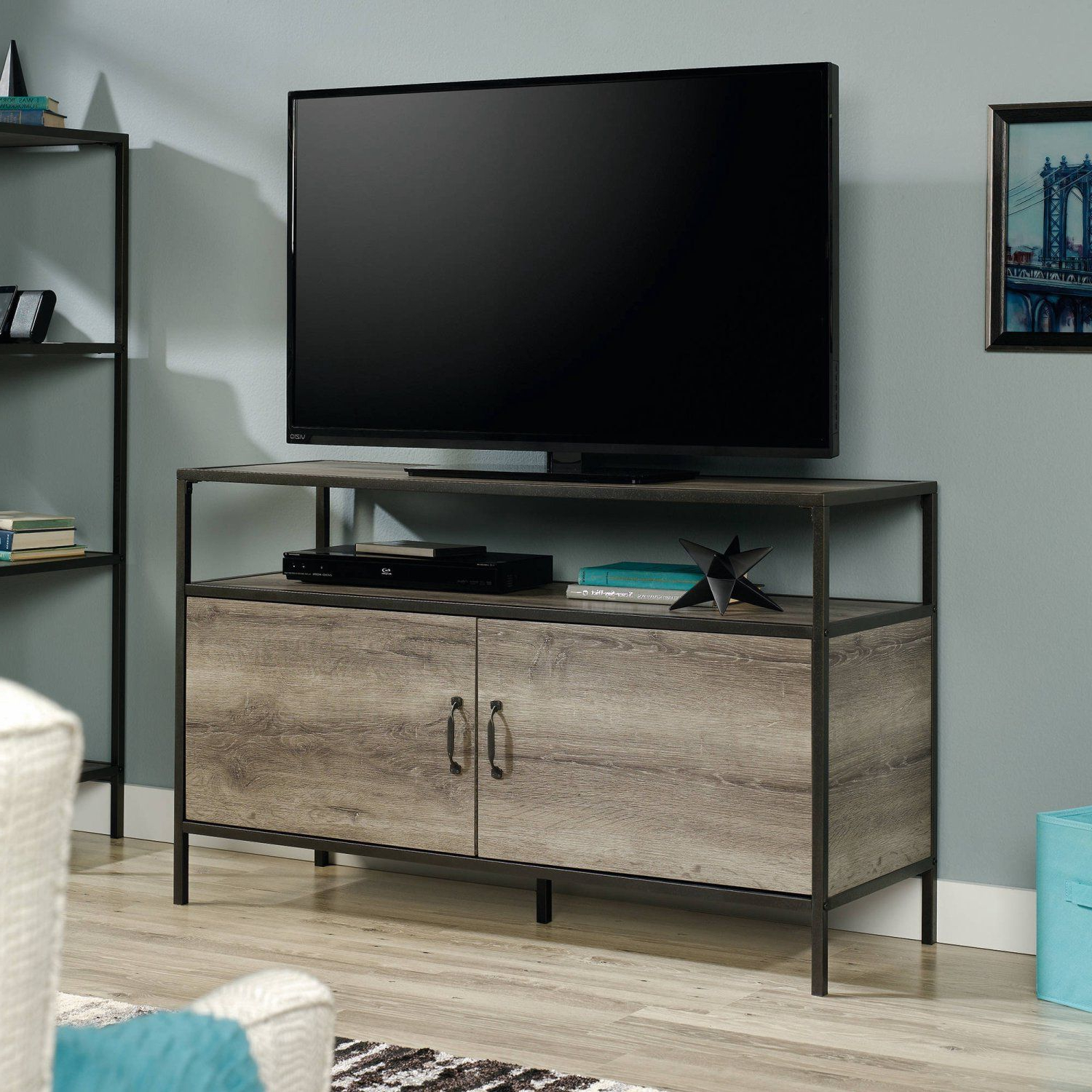 "Wood And Metal Tv Stands With Regard To Most Current Wood Metal Tv Stand 50"" With Grey Oak Storage Cabinets Media Table (View 18 of 20)"