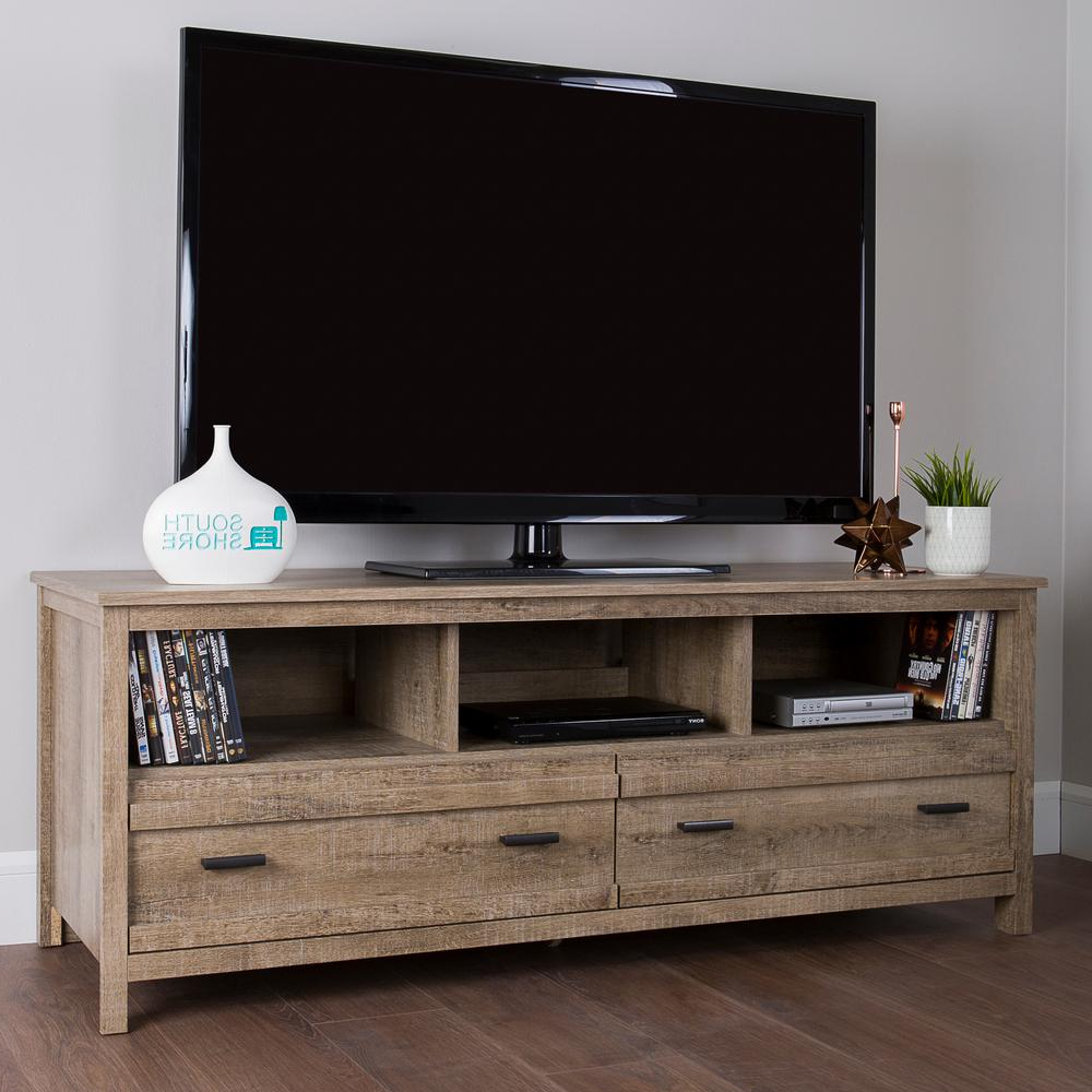 Wood Tv Entertainment Stands In Preferred South Shore Exhibit Weathered Oak Storage Entertainment Center  (View 15 of 20)
