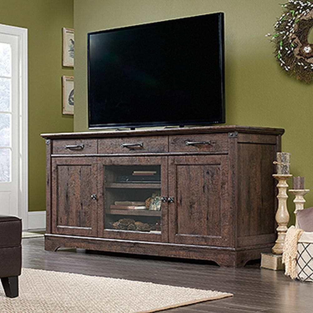 Wood Tv Entertainment Stands Throughout Fashionable Sauder Carson Forge Coffee Oak 70 In (View 18 of 20)