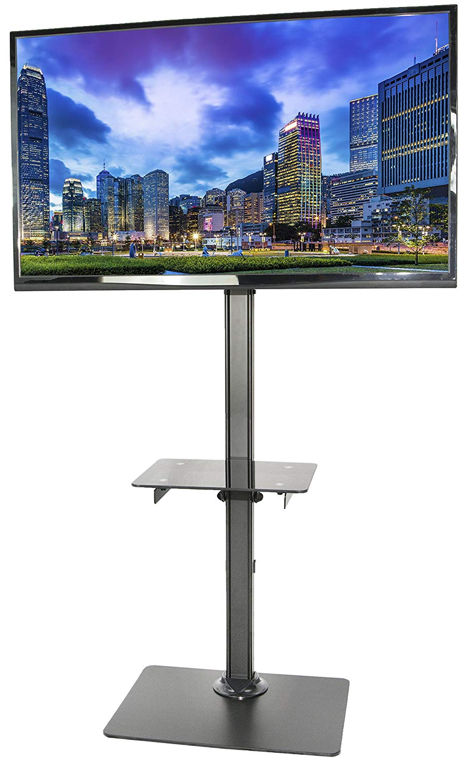 Wood Tv Floor Stands For Most Current Amazon: Vivo Black Steel And Glass Shelf Tv Presentation Floor (Gallery 20 of 20)