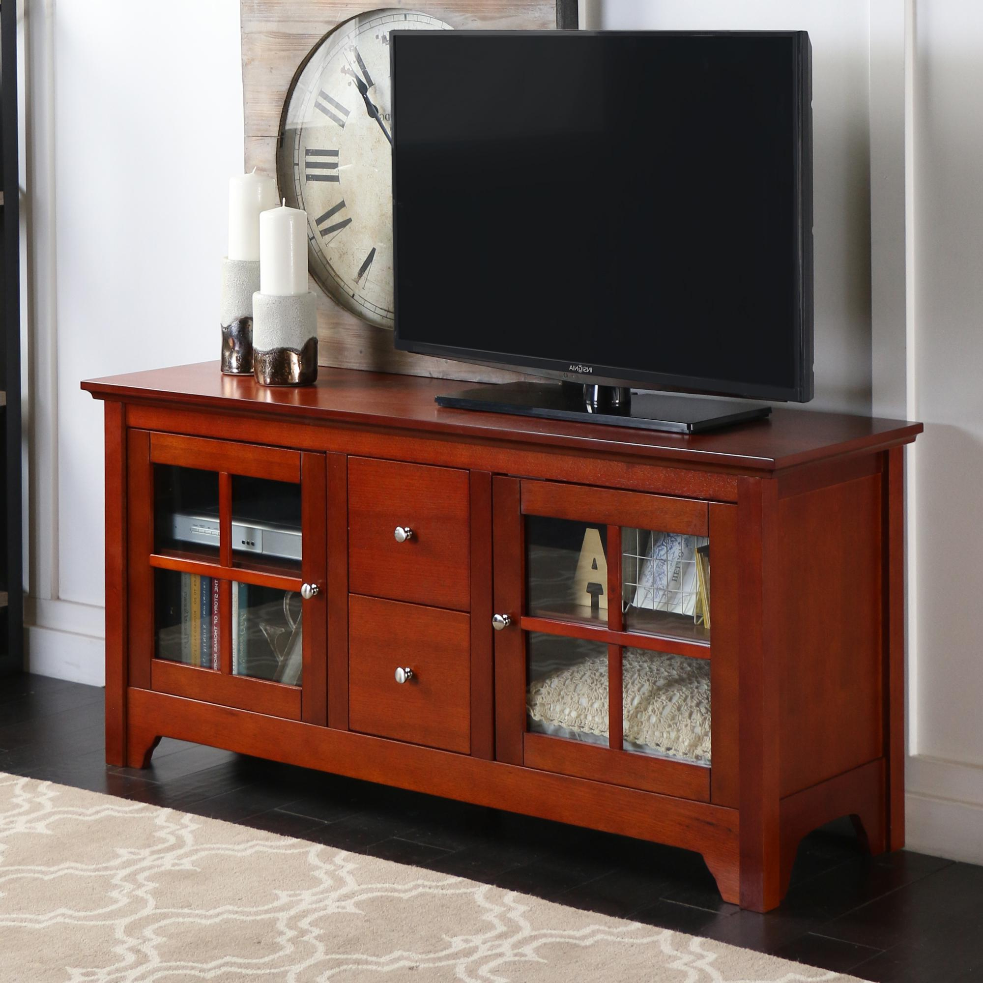 "Wood Tv Stand With Glass Pertaining To Recent Amazon: Walker Edison 53"" Wood Tv Stand Console With Storage (View 13 of 20)"