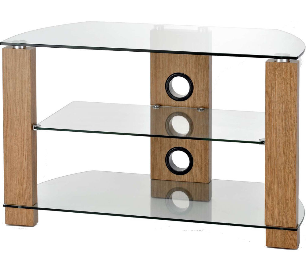 Wood Tv Stand With Glass Throughout Preferred Ttap Vision 600 Tv Stand – Light Oak Deals (View 15 of 20)