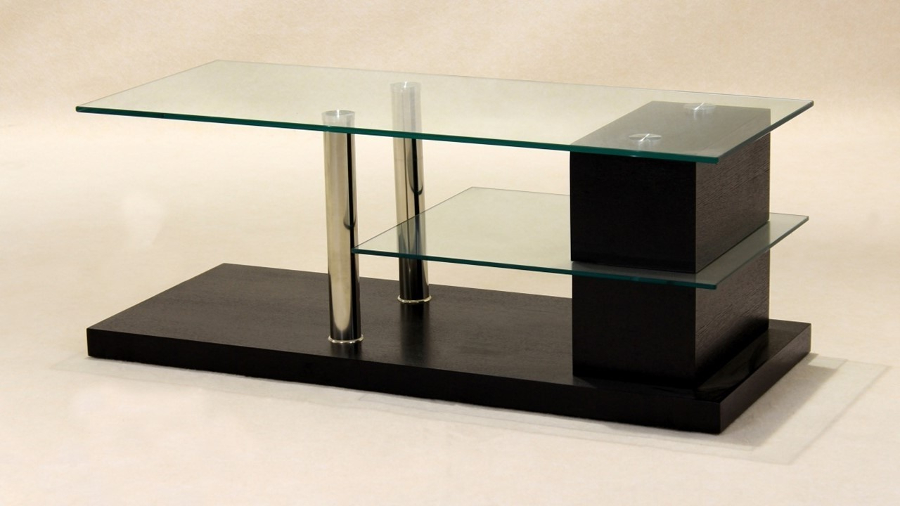 Wood Tv Stand With Glass With Current Glass Tv Unit Wood Veneer Base – Homegenies (View 7 of 20)