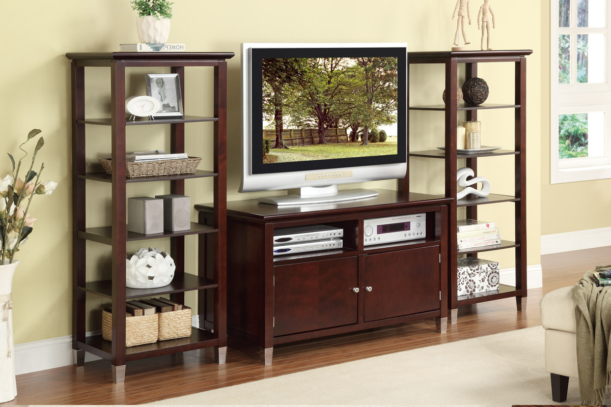 Wood Tv Stand With Storage Cabinets Plus Two Tall Shelving Unit Of Within Trendy Storage Tv Stands (View 20 of 20)