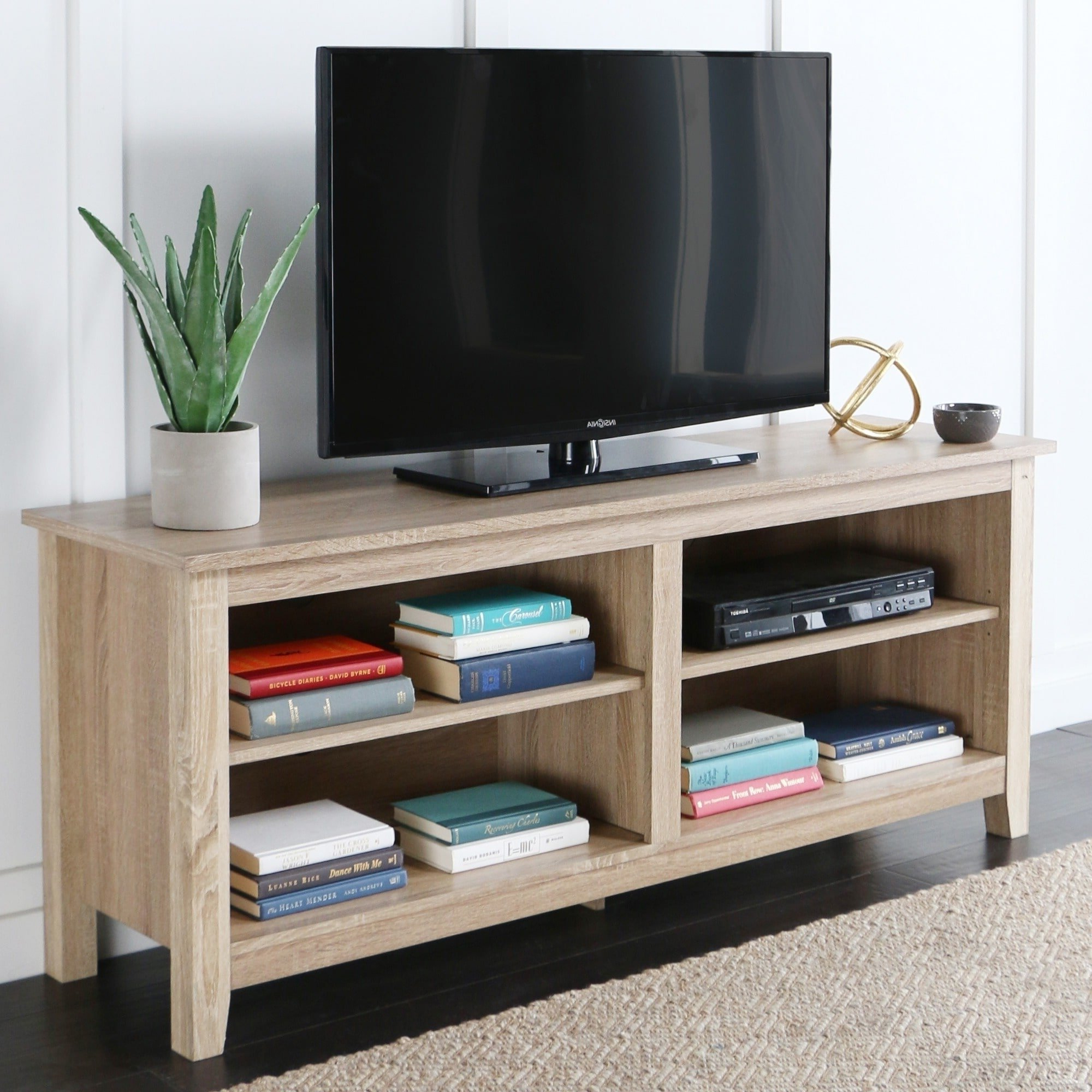 Wood Tv Stands Pertaining To Latest Shop 58 Inch Natural Wood Tv Stand – Free Shipping On Orders Over (View 20 of 20)
