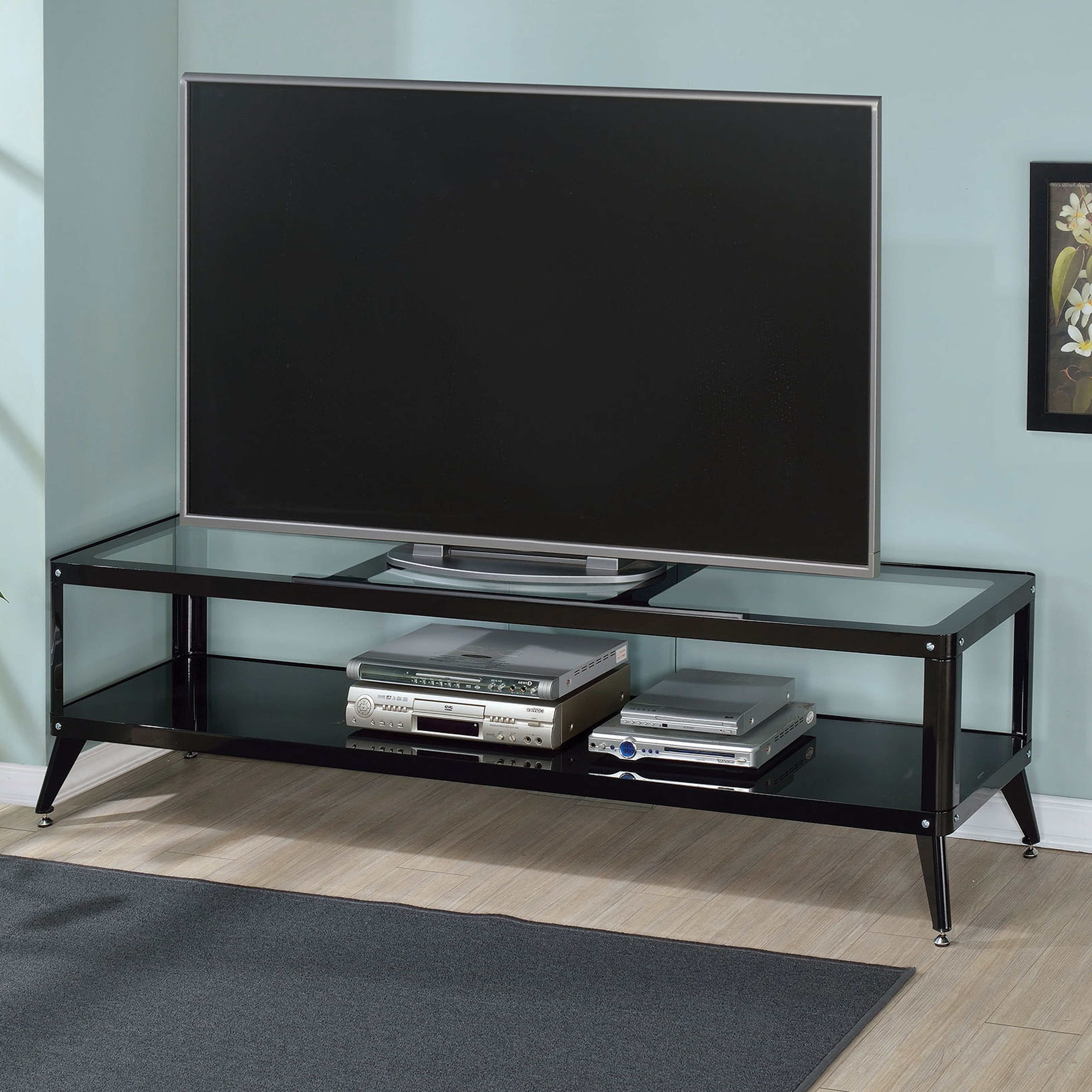 Wood Tv Stands With Glass Top Inside Most Up To Date Shop Furniture Of America Linden Modern Glass Top Tv Stand – On Sale (View 16 of 20)