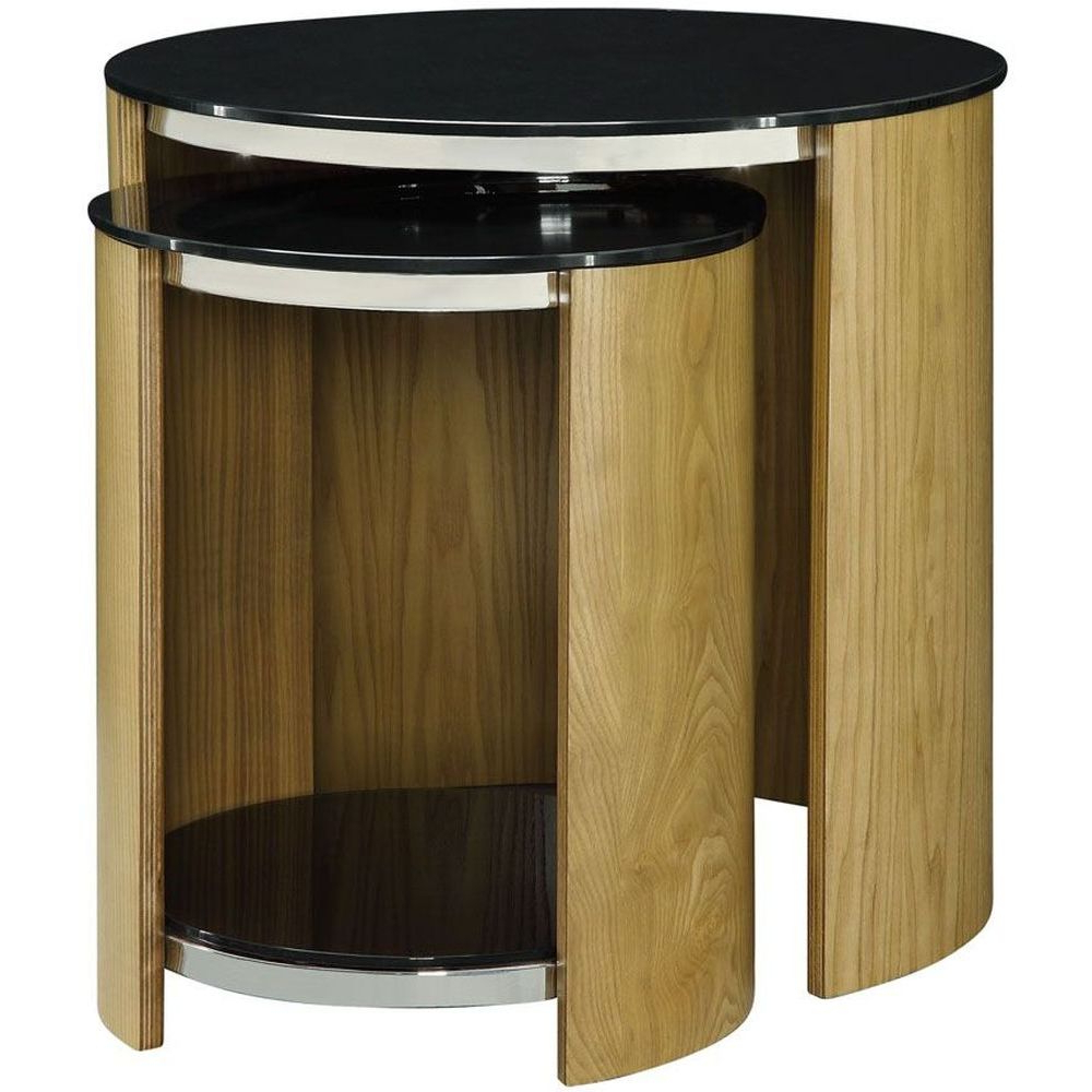 Wood Tv Stands With Glass Top Regarding Fashionable Light Wooden Veneer Glass Top Round Oak Nest Of Table (View 17 of 20)