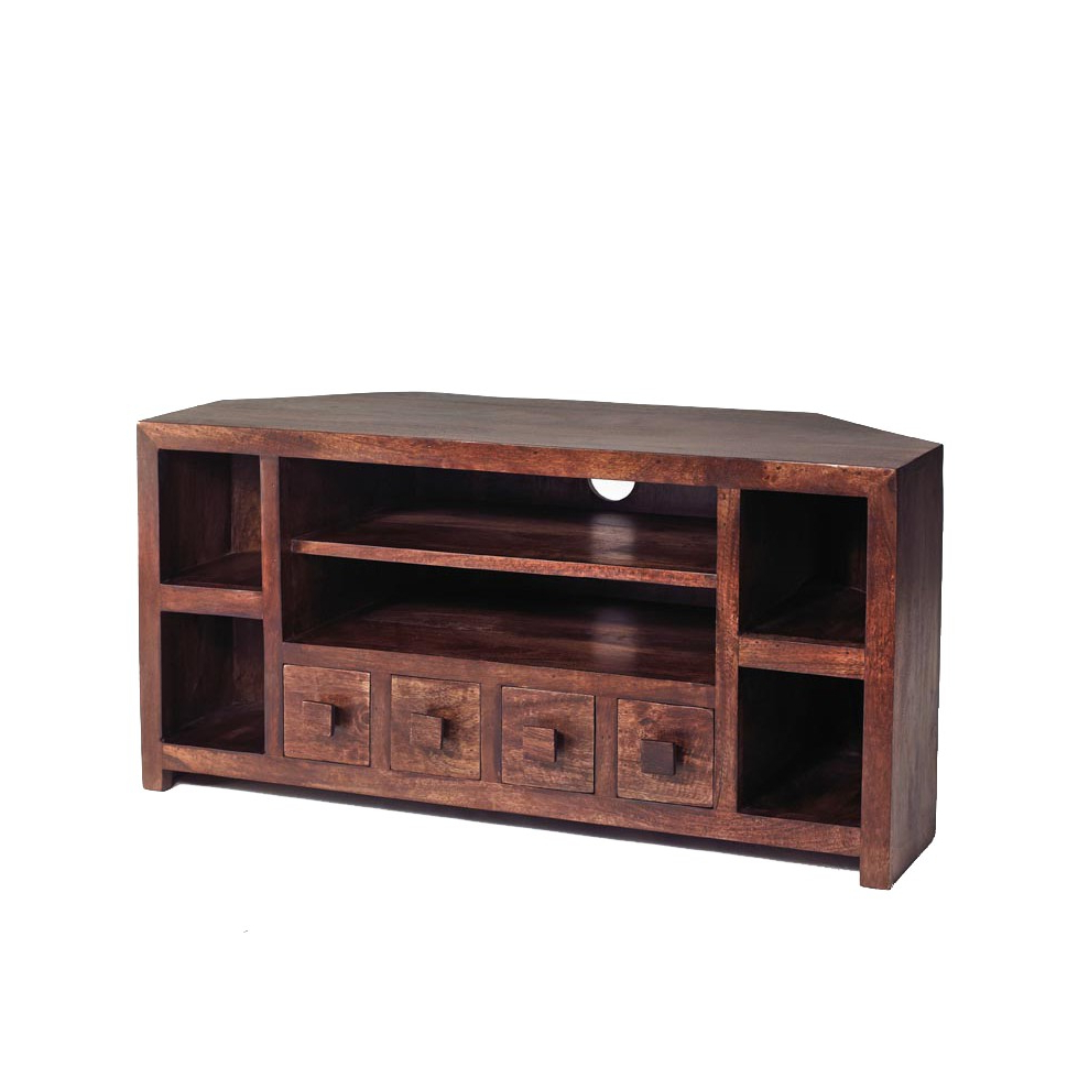 Wooden Corner Tv Cabinets With Regard To Most Popular Dakota Mango Corner Tv Unit – Verty Indian Furniture (View 18 of 20)