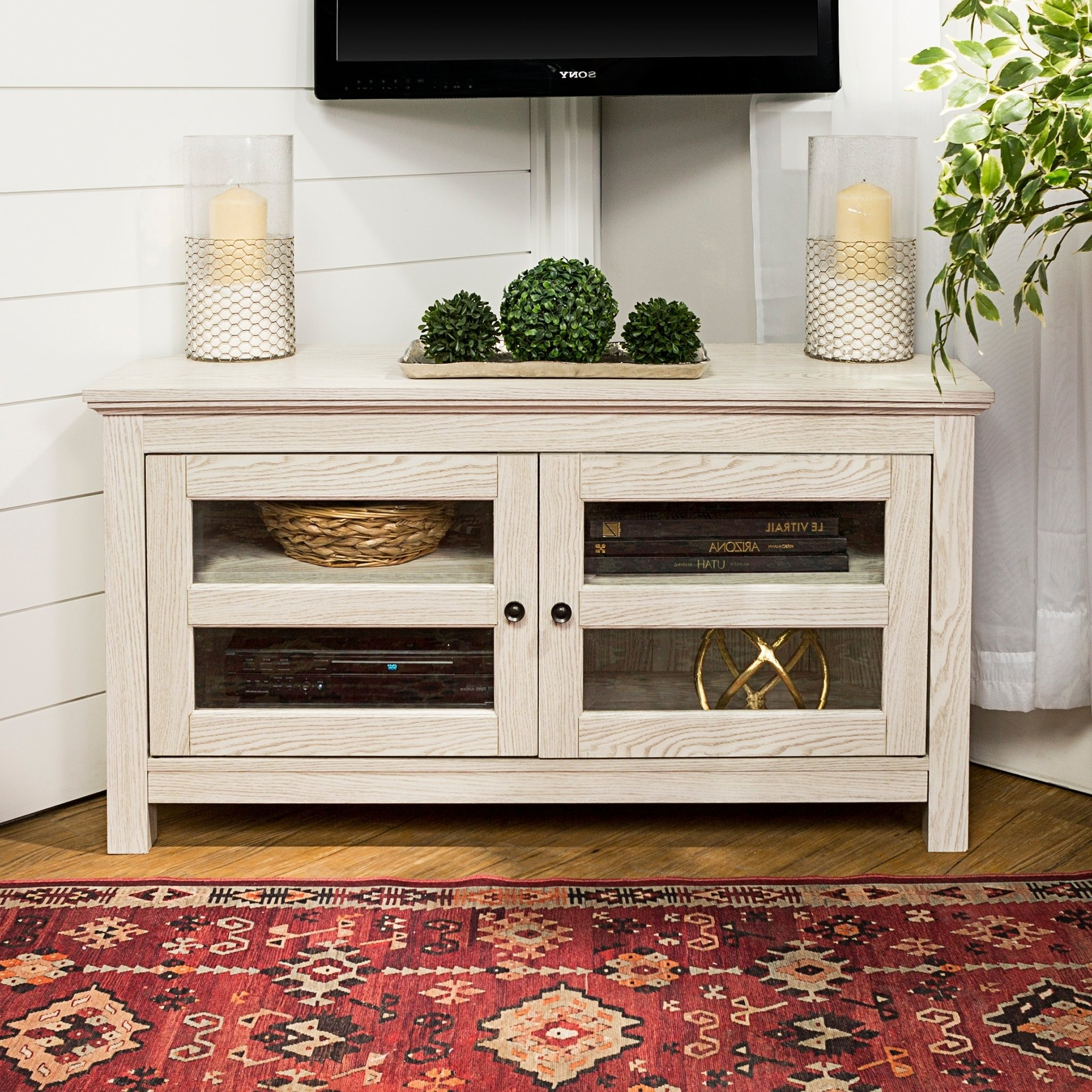 "Wooden Corner Tv Cabinets With Regard To Well Known Shop 44"" Corner Tv Stand Console – White Wash – 44 X 16 X 23H – Free (View 19 of 20)"