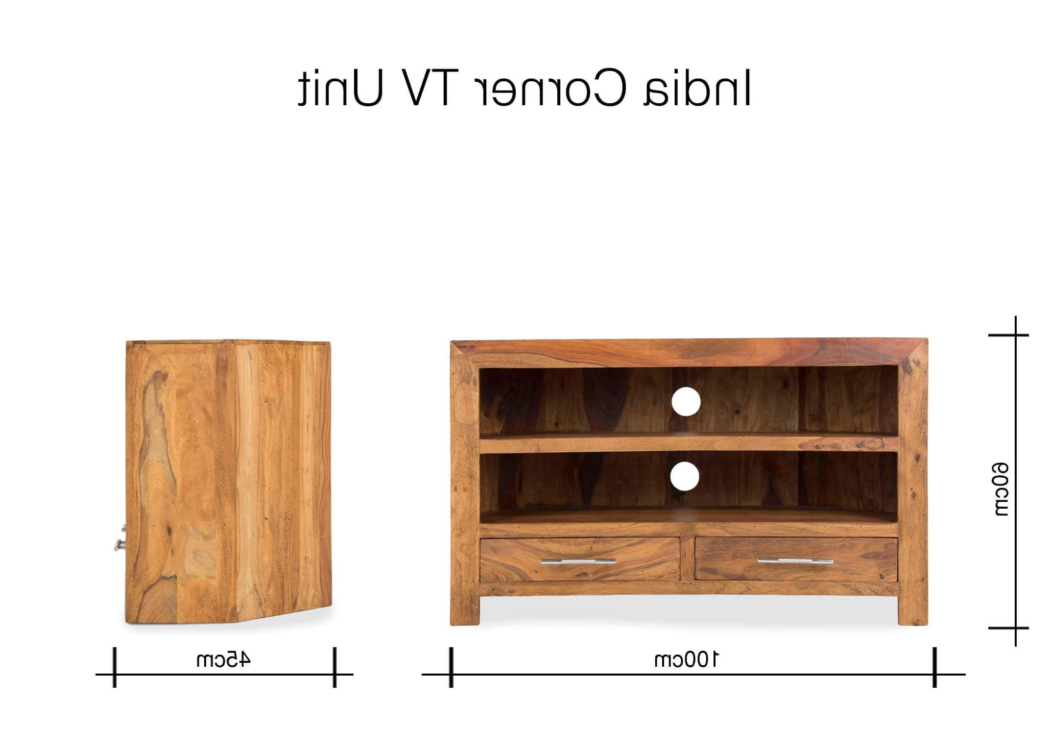 Wooden Corner Tv Units With Most Up To Date Two Drawer Sheesham Wood Corner Tv Unit – India – Ez Living Furniture (View 20 of 20)