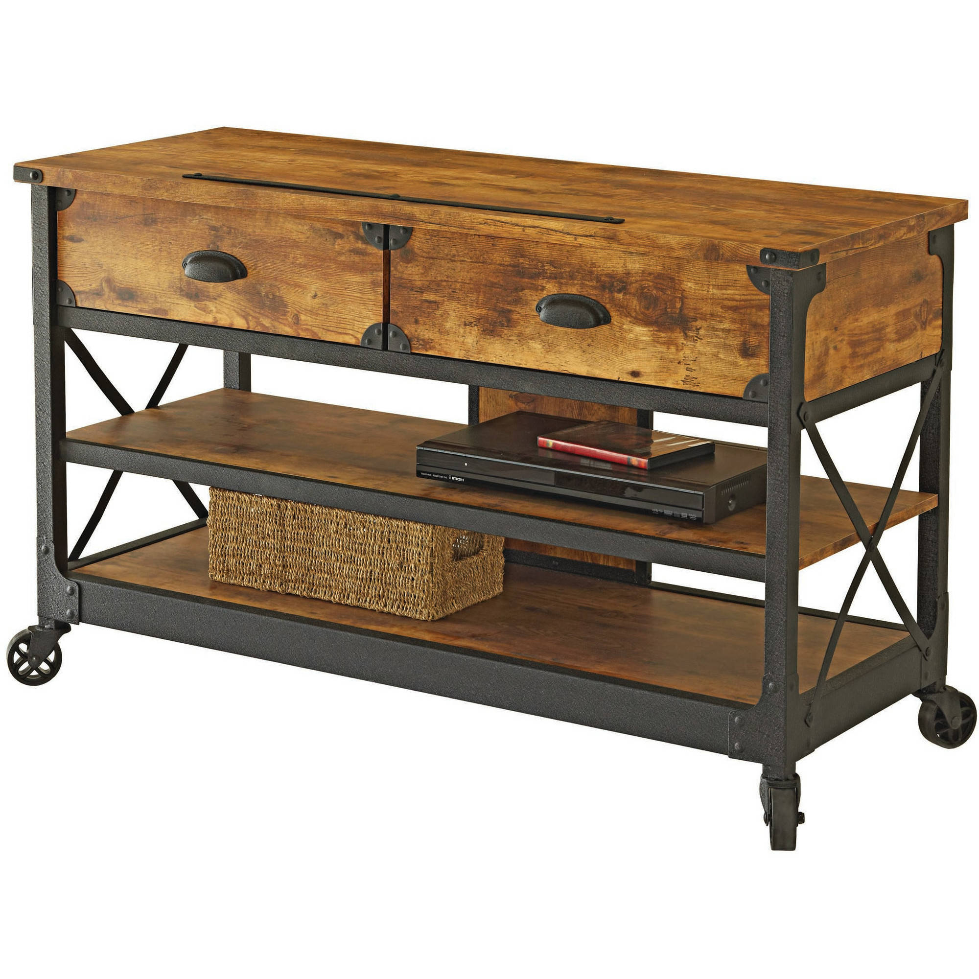 Wooden Tv Stand With Wheels Intended For Favorite Inspiring New Rustic Tv Console Table Stand Wood Wheels Office (View 17 of 20)