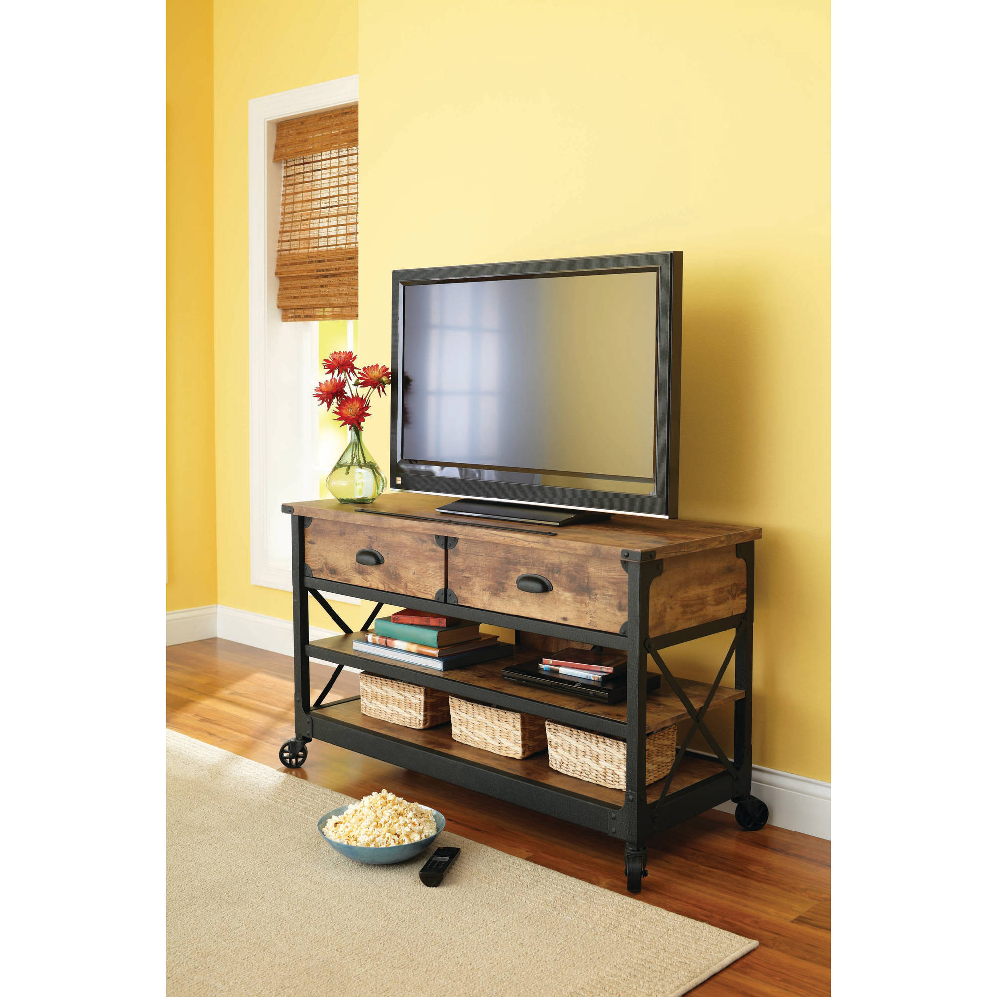 Wooden Tv Stand With Wheels Regarding Most Current Better Homes & Gardens Rustic Country Tv Stand For Tvs Up To  (View 18 of 20)