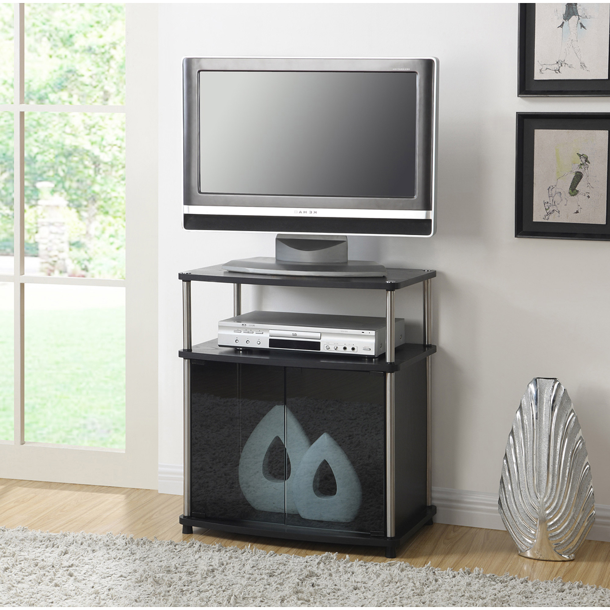Wooden Tv Stands And Cabinets With Popular Convenience Concepts Designs2Go No Tools Tv Stand With Black Glass (View 20 of 20)