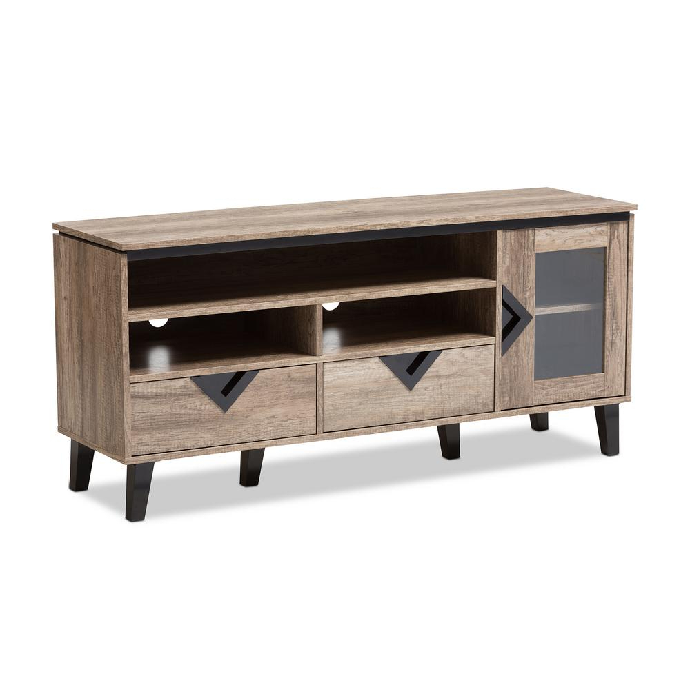 Wooden Tv Stands Intended For Most Recently Released Baxton Studio Cardiff Light Brown Wood Tv Stand 28862 7560 Hd – The (View 11 of 20)