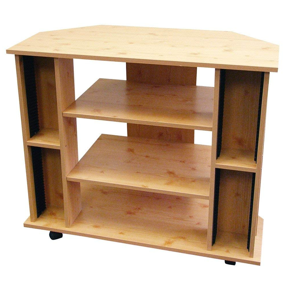 Wooden Tv Stands Regarding Popular Amazon: Ore International R556Na Corner Tv Stand Natural Color (View 18 of 20)
