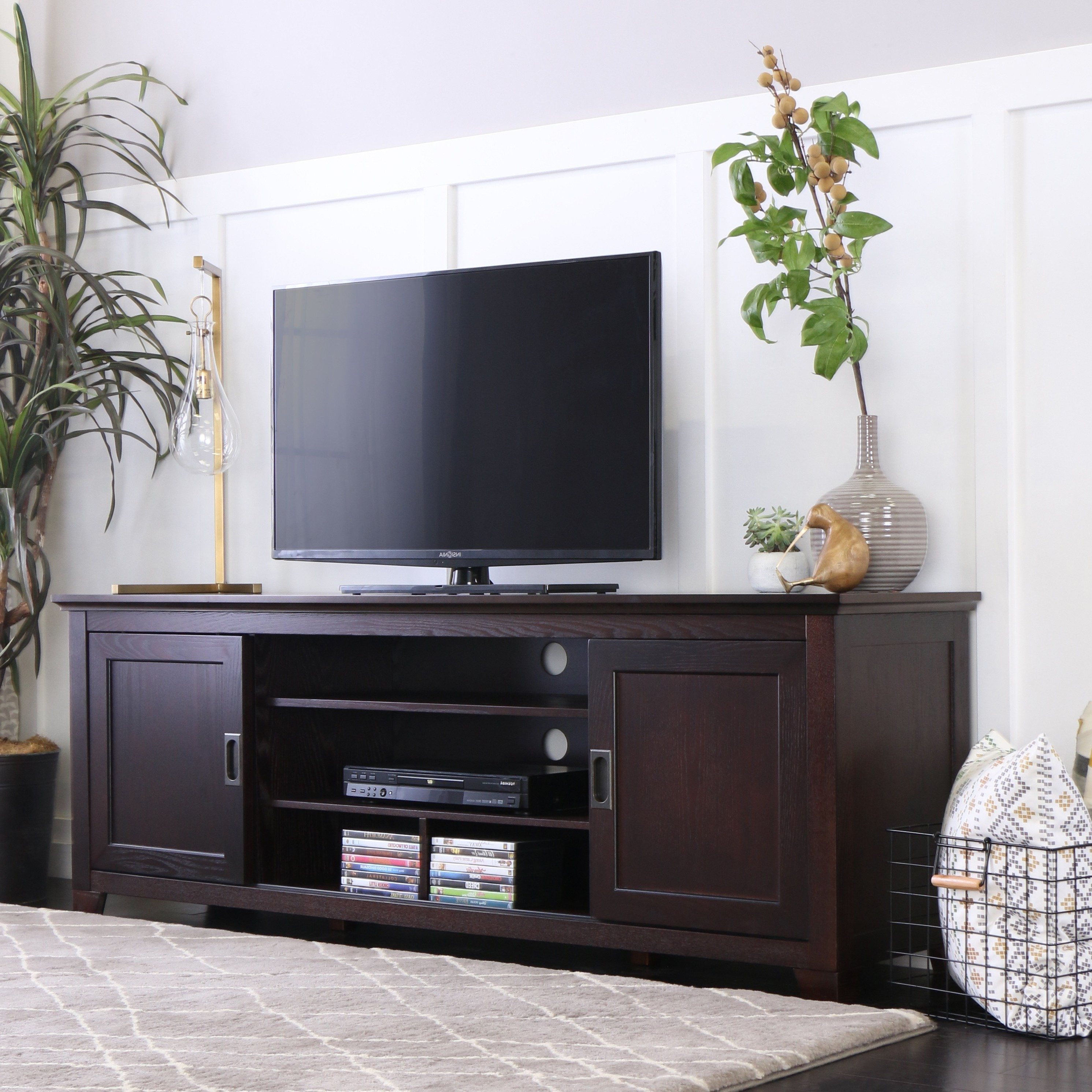 Wooden Tv Stands With Doors Inside Recent Shop 70 Inch Espresso Wood Tv Stand With Sliding Doors – Free (View 17 of 20)