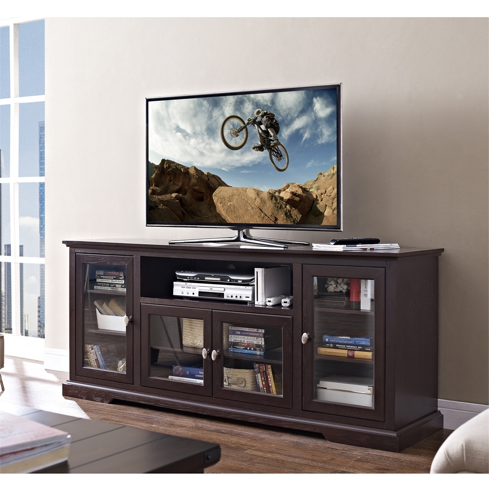 "Wooden Tv Stands With Doors Pertaining To Most Recent 70"" Highboy Style Wood Tv Stand – Espresso (View 12 of 20)"