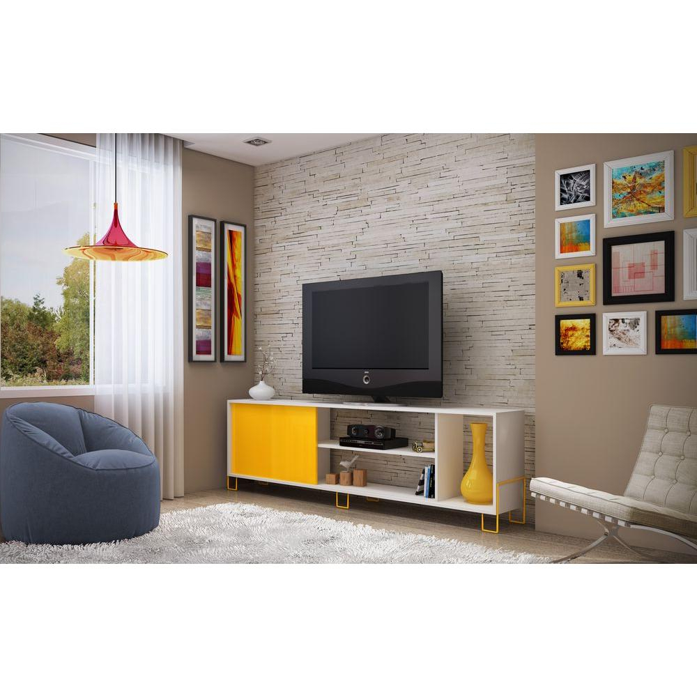Yellow Tv Stands For Well Known Manhattan Comfort Nacka 1.0 White And Yellow Storage Entertainment (Gallery 6 of 20)