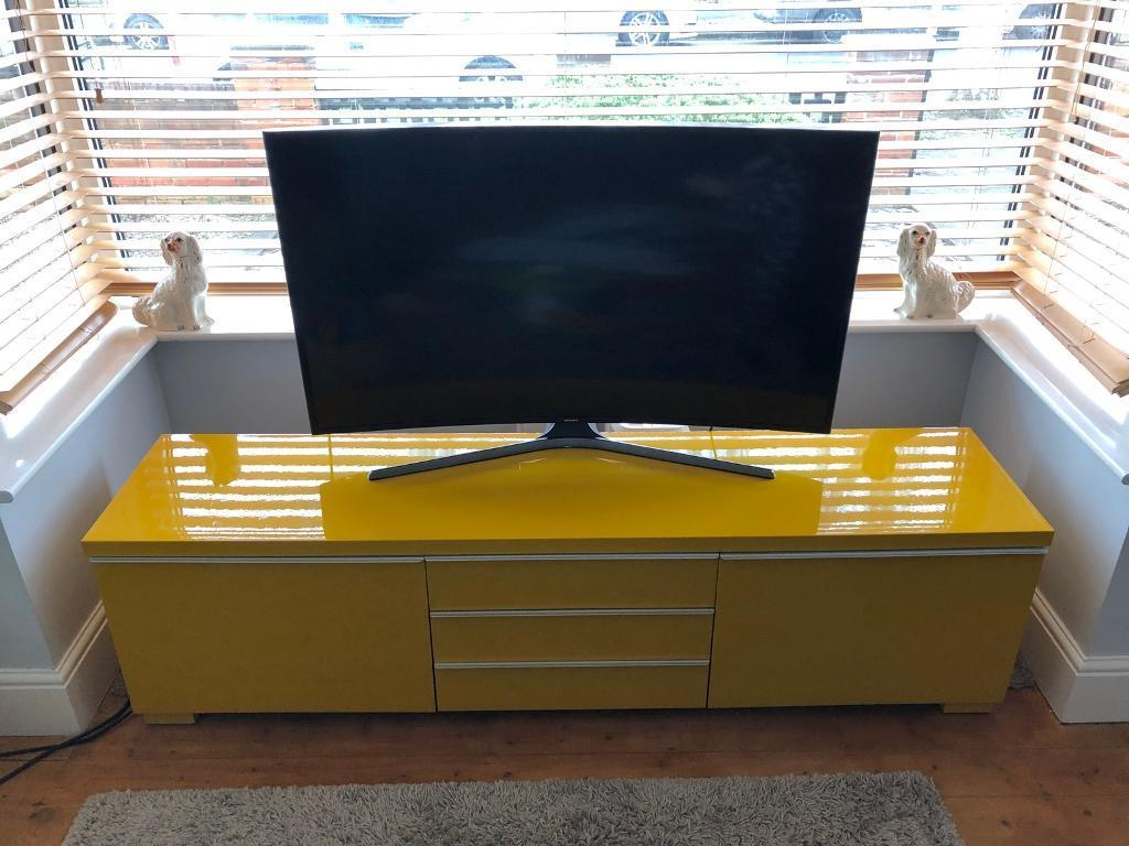 Yellow Tv Stands Pertaining To Well Liked Ikea High Gloss Yellow Multi Media Storage Unit Tv Stand Cabinet (View 16 of 20)