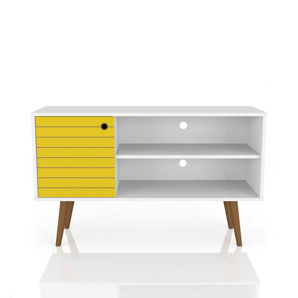 Yellow Tv Stands Regarding Most Recently Released Manhattan Comfort Liberty 42.52 In. White And Yellow 2 Shelf Tv (Gallery 10 of 20)