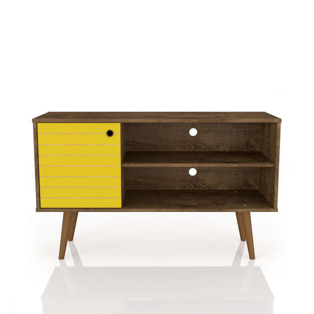 Yellow Tv Stands With Preferred Manhattan Comfort Liberty 42.52 In. Rustic Brown And Yellow 2 Shelf (Gallery 14 of 20)