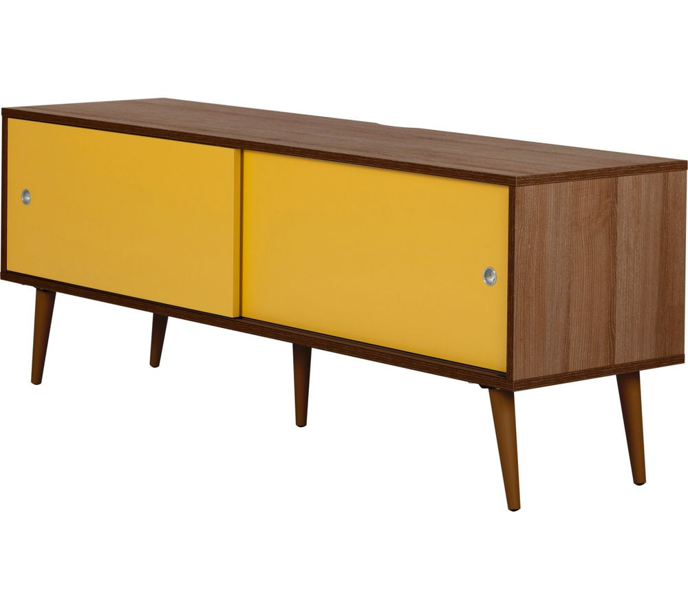 Yellow Tv Stands Within Widely Used Outline Retro 1400 Mm Tv Stand – Walnut & Yellow Deals (Gallery 5 of 20)