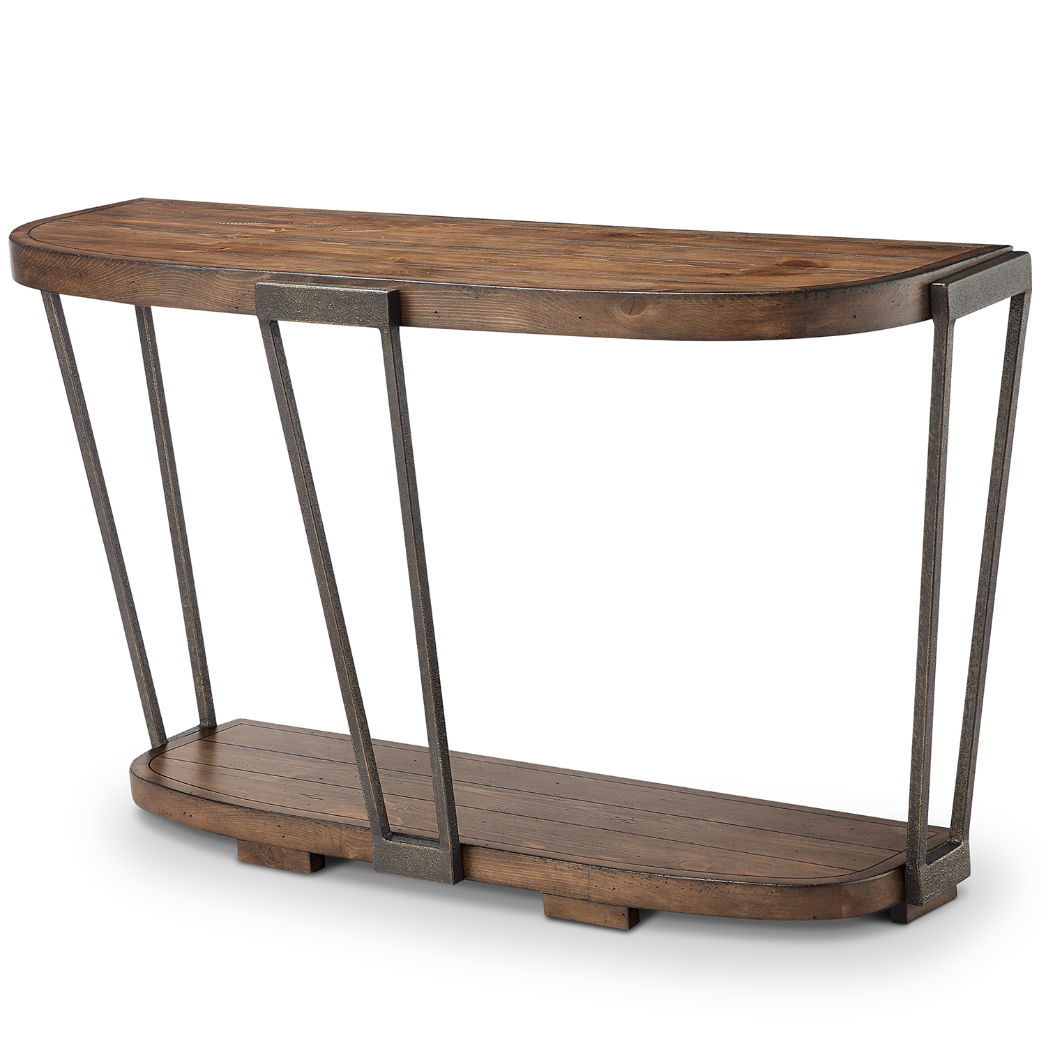 Yukon Natural Console Tables Inside Popular Magnussen Home Yukon Industrial Bourbon And Aged Iron Entryway Table (View 17 of 20)