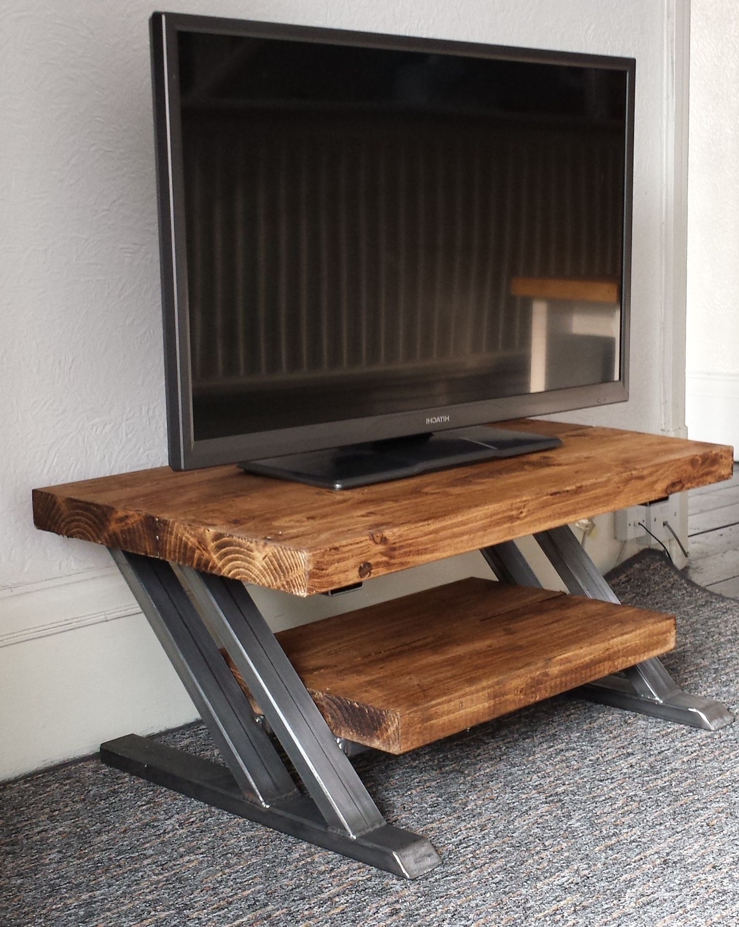 Z Frame Tv Stand With Rustic Shelf And Top (View 20 of 20)