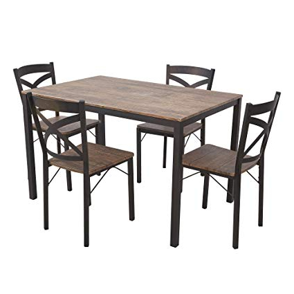 2017 Amazon – Dporticus 5 Piece Dining Set Industrial Style Wooden For Bryson 5 Piece Dining Sets (View 15 of 20)