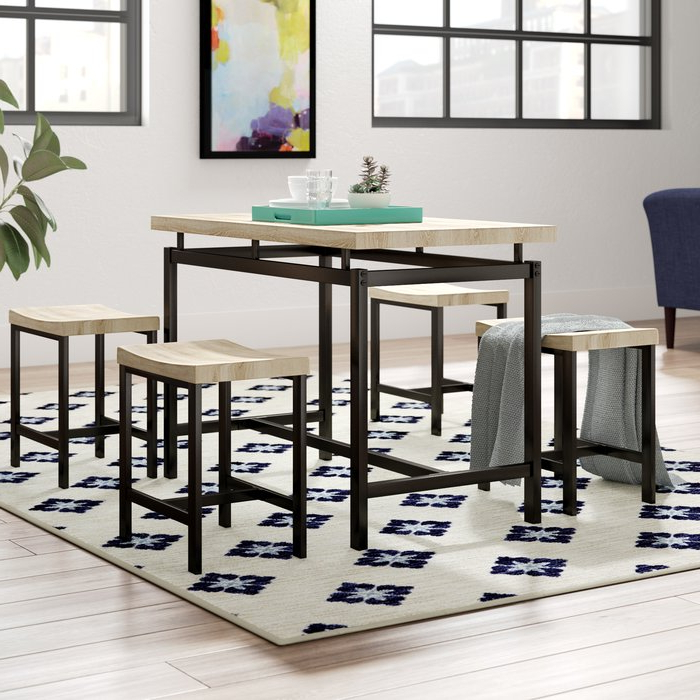 2017 Bryson 5 Piece Dining Sets Intended For Wrought Studio Bryson 5 Piece Dining Set & Reviews (Gallery 4 of 20)