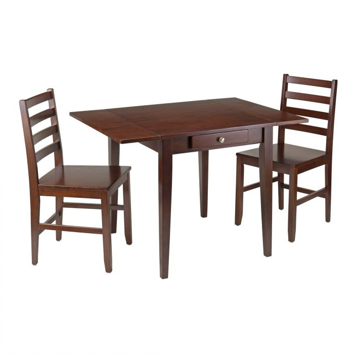 2017 Winsome 3 Piece Counter Height Dining Sets With Winsome 94366 Hamilton 3 Piece Dining Set Drop Leaf Dining Table (Gallery 19 of 20)