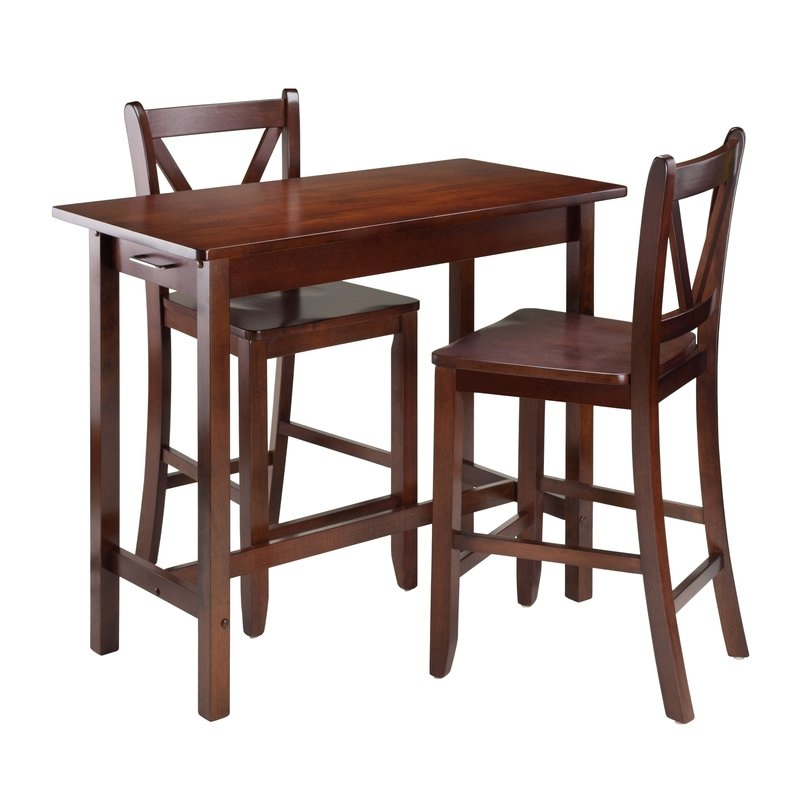 2017 Winsome Kitchen Island 3 Piece Counter Height Dining Set & Reviews Throughout Winsome 3 Piece Counter Height Dining Sets (Gallery 2 of 20)
