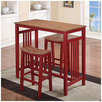 2018 3 Piece Red Breakfast Dining Set At Big Lots  To Place Against Regarding 3 Piece Breakfast Dining Sets (View 2 of 20)