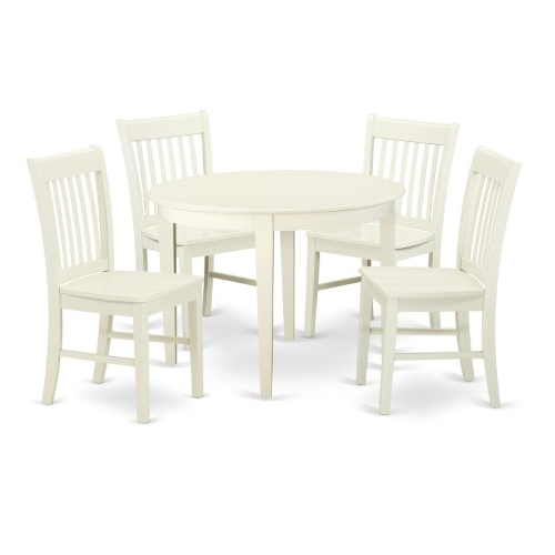 2018 East West Furniture Boston Bono5 Five Piece Round Dining Table Set Regarding Lamotte 5 Piece Dining Sets (View 1 of 20)