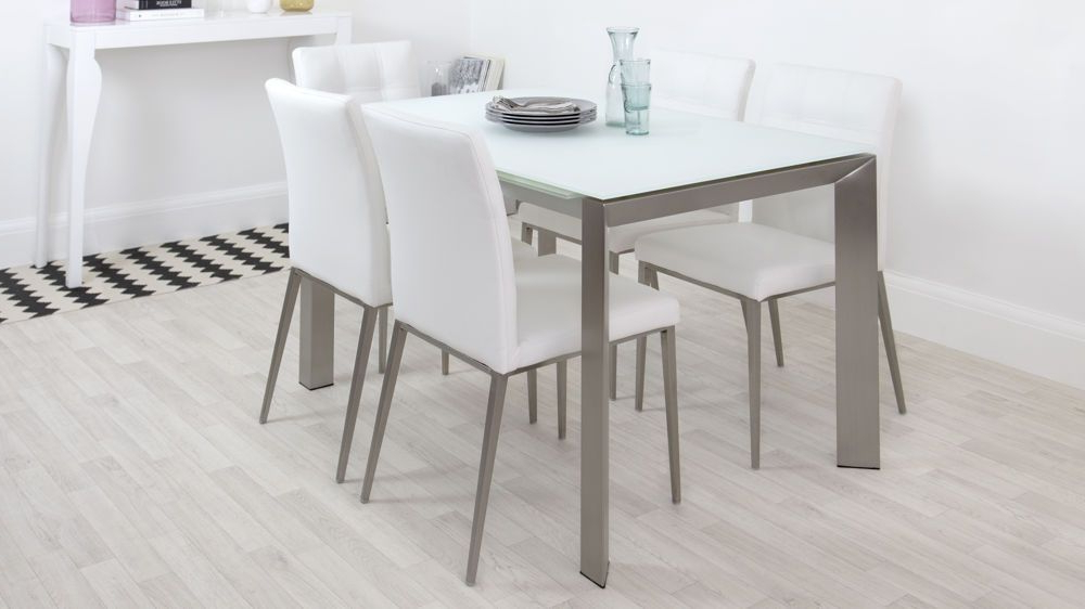 2018 Osterman 6 Piece Extendable Dining Sets (Set Of 6) Within Eve White Frosted Glass With Brushed Stainless Steel And Moda (Gallery 14 of 20)