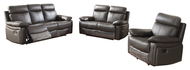2018 Ryker 3 Piece Dining Sets Within Ryker 3 Piece Leather Living Room Set With Reclining Sofa, Loveseat (Gallery 17 of 20)