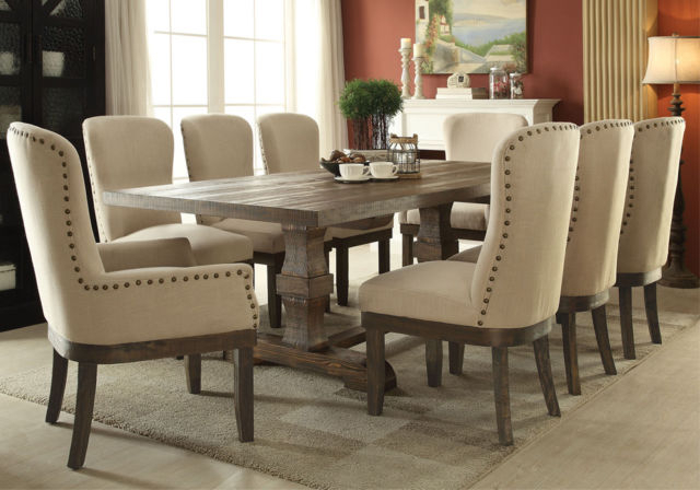 2020 New Chelmsford Formal 9Pc Transitional Taupe Wood Tufted Fabric Inside Chelmsford 3 Piece Dining Sets (View 3 of 20)