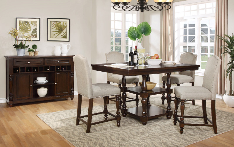 2020 Penelope 3 Piece Counter Height Wood Dining Sets With Regard To Mf D1889 5Pc 5 Pc Penelope Dark Finish Wood Turned Legs Counter (View 1 of 20)