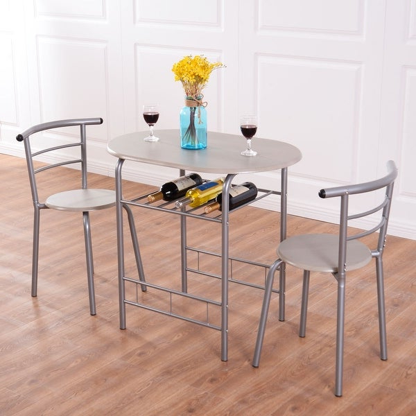3 Piece Breakfast Dining Sets In Widely Used Shop Costway 3 Piece Dining Set Table 2 Chairs Bistro Pub Home (View 3 of 20)