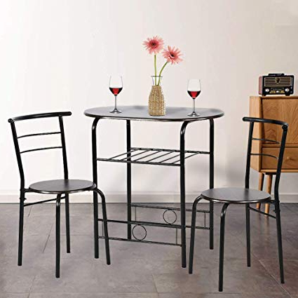 3 Piece Breakfast Dining Sets Within Most Popular Amazon – Dining Kitchen Table Dining Set,3 Piece Metal Frame (View 6 of 20)