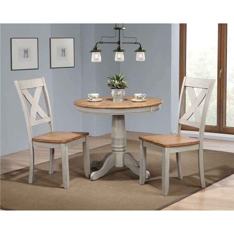 3 Piece Dining Sets In 2018 Rustic Gray And Brown 3 Piece Round Dining Set – Barnwell (View 5 of 20)