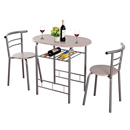 3 Piece Dining Sets With Most Recently Released Amazon – Giantex 3 Piece Dining Set Compact 2 Chairs And Table (Gallery 4 of 20)