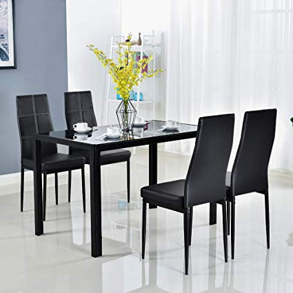 5 Piece Dining Sets Regarding Most Popular Amazon – Bonnlo Modern 5 Pieces Dining Table Set Glass Top (View 2 of 20)